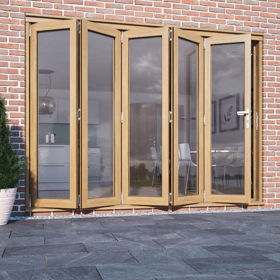 Folding doors folding doors oak for Folding french doors