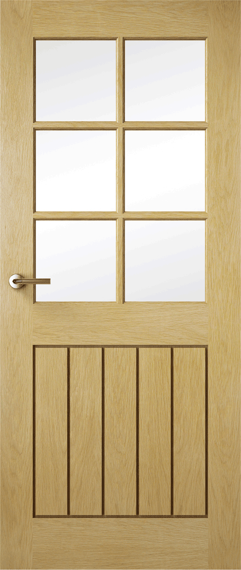 Premdor Internal Contemporary Oak Croft Solid Glazed Doors